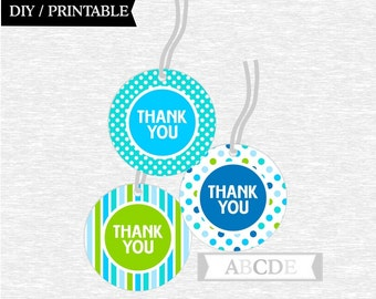 Instant Download  Blue, Lime, Aqua Thank You tags Birthday party DIY Printable (PDMD008)