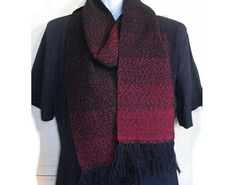 Midnight Black and Red Handwoven Wool Blend Scarf