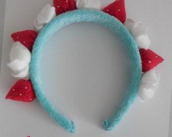 Fluffy strawberry and cream mint kawaii lolita headband