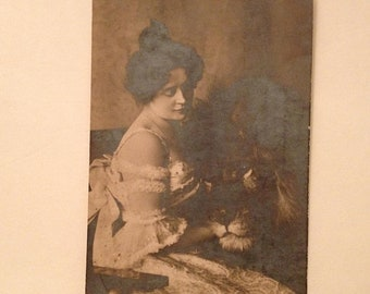 ON SALE Rare Claire Heliot 1900's Lion Tamer Circus Lovely Young Woman Real Photo Postcard RPPC Old Vintage Antique