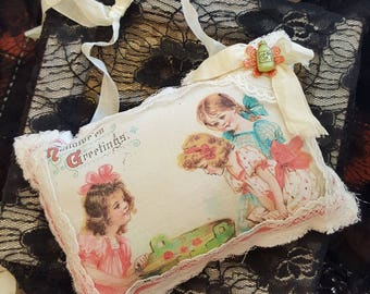 Vintage Halloween Lavender Sachet - Bobbing For Apples