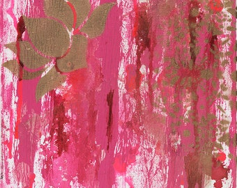 Pink Lotus Art, Pink Artwork, Pink Wall Art, 12x12, Original Wall art,Pink Art, Pink Mixed Media, Interior Art, home decor,Mixed Media Art