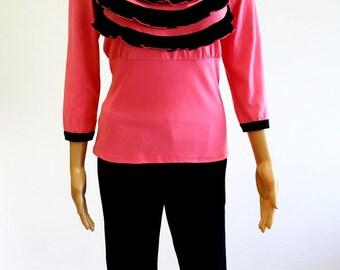 Hot Pink Long Sleeves Ruffle Women Pajama Set