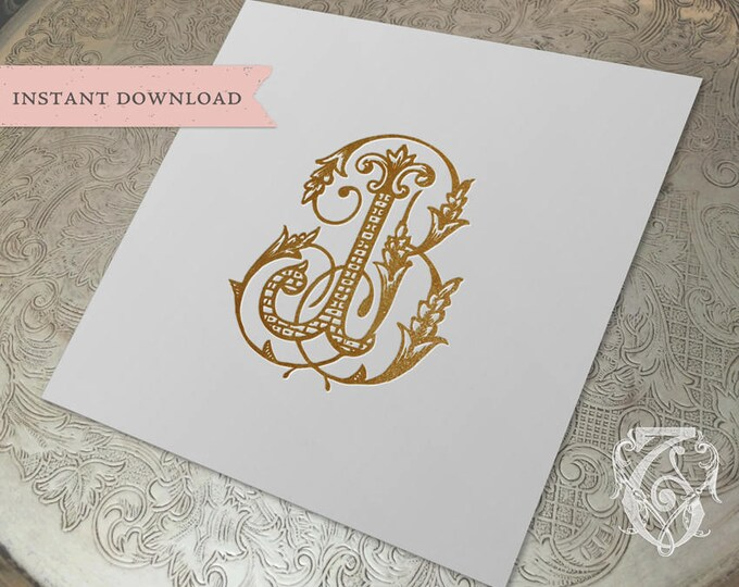 Vintage Wedding Monogram BJ JB Digital Download B J