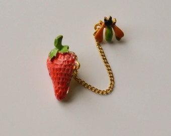 Strawberry, Insect Double Pin or Brooch, 1950s, Vintage Double Pin Brooch
