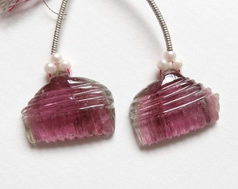 Watermelon Pink Tourmaline Carved Flat Drops Matched Pair for Earrings Indian Bollywood Style L3153