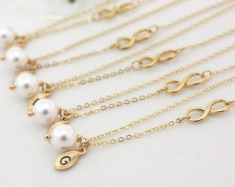 Bridesmaid gifts - Set of 7, 8, 9 -Leaf initial, white pearl necklace,Infinity charm, Personalized necklace, Swarovski Pearl