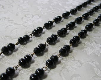 """Double Black Glass Pearl 6mm Beaded Rosary Chain Antique Bronze One Meter 39.5"""" 974"""
