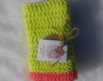Cotton Cloth - Lime Green with Coral Edging - Crocheted Cloth- Mother's Day Gift - Baby Cloth - Wash Cloth - Spa Cloth - Dish Cloth