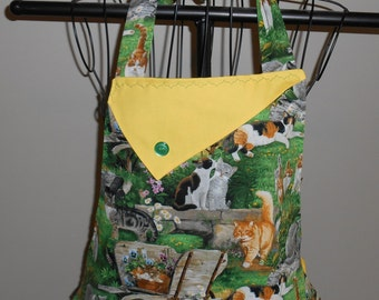 Cats, Kittens and Flowers - Women's Apron - Ruffle - Pocket - Daisies - Pets