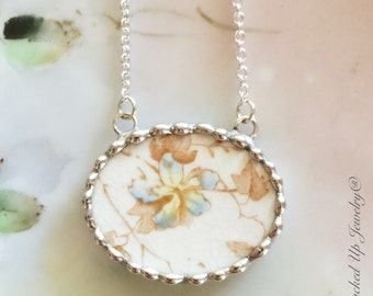 Broken China Jewelry. Broken China Necklace, Johnson Brothers China, Blue Brown Flower, Recycled China, Antique China Jewelry