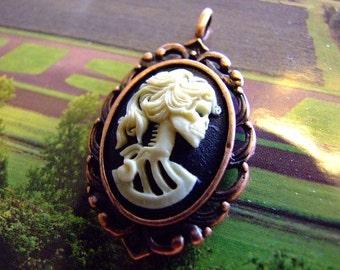 Lolita Steampunk Gothic skull Cream  and black  Cameo Dia De Los Muertos