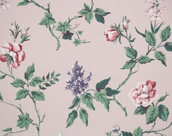 1940s Vintage Wallpaper by the Yard - Floral Wallpaper with Pink Roses and Purple Lilac Flowers on Pink