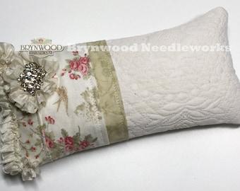 Lovebird Roses Pincushion. Vintage Lace Needlework Sewing Pincushion