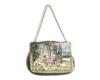Needlepoint bag, Tapestry purse, 1950s purse, needlepoint purse, petit point purse, 50s purse, embroidered purse, vintage purse, vintage