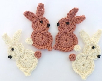 Crochet applique, Crochet rabbits, 4 small Easter bunnies, cardmaking, appliques, scrapbooking, handmade, sew on patches. embellishments