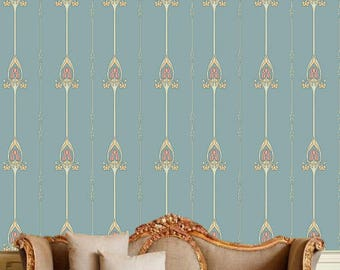 Removable retro wallpaper/Wallpaper/Peel and Stick/Self adhesive wallpaper/Retro  wallpaper A023A