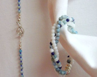 Free Shipping for U.S. Buyers ... Long Necklace & Matching Stretchy 3 Strand Twisted Bracelet .... Blues, White, Silver