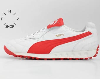 NOS Puma Avanti sneakers / Vintage mens leather kicks / OG running white red trainers / Lifestyle daily shoes / made in Vietnam / 90s