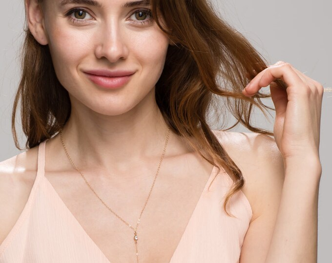 CZ Lariat / Simple and Classy Long Lariat with Shinny Cubic Zirconia / CZ diamond Y lariat necklace / Bridesmaid Jewelry  EL3