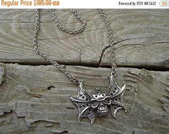 ON SALE Skull necklace in sterling silver