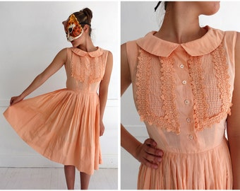 Vintage 60's Sleeveless Sherbet Orange Ruffle-Front Day Dress with Peter Pan Collar   XS/Small