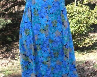 VINTAGE FLORAL MAXI, Duster Dress, Turquoise Blue Flowers Print, 90s Button-Down Rayon Midi, Boho Chic Hippie Festival, Floral Grunge dress