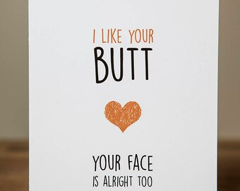 Greeting Card - Love, Valentine, I like your butt