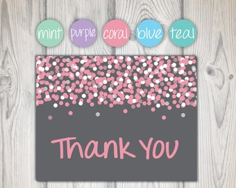 Bridal Shower Thank You Cards Pink and Gray | Thank You Cards Confetti | Thank You Notecards | Printable Thank You Cards | Thank You Cards