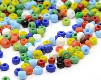 20 GR 4 MM NEW ASSORTED GLASS SEED BEADS