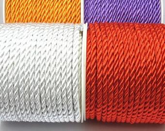 5mm Twisted Rayon Satin Rope Silk Braid Cord,Golden,Blue,Brown,Black 3 meters