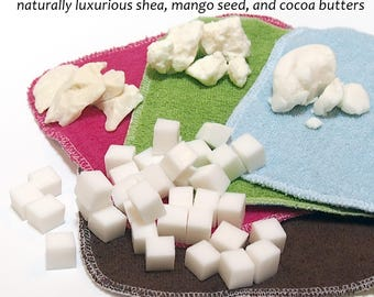Vegan Cloth wipe solution cubes - your choice of scent and dyed/undyed soap bits - natural, vegan, phthlatate and detergent free  - 5 ounces