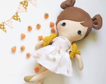 Custom Handmade Cute Baby Doll Girl - Fabric Rag Toy - Dress Up Doll - Playtime - Stuffed Friend
