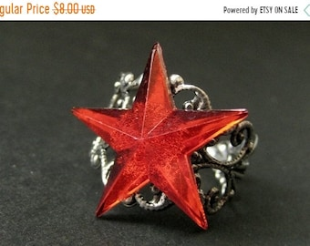 SUMMER SALE Star Ring. Red Ring. Red Star Ring. Silver Filigree Ring. Adjustable Ring. Handmade Ring. Handmade Jewelry.