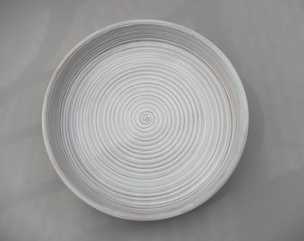 Handmade Ceramic Tart Plate, White Pottery Serving Plate, Unique Hand Carved Design