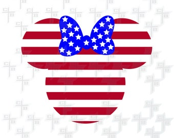 Disney Minnie Mouse Stars and Stripes 4th of July svg Hipster Svg PNG Files Svg Files for Silhouette Cameo Svg Files for Cricut Files Girls