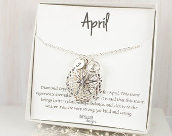 April Birthstone Locket Personalized Silver Necklace, April Birthday Jewelry, Personalized Silver Necklace, April Birthday Gift