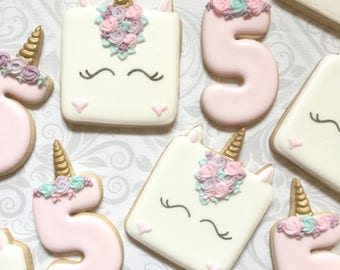 Unicorn and number birthday cookies  - One Dozen Decorated Sugar Cookies