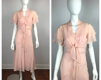 Vintage 1930s Gown / 30s Blush Pink Silk Chiffon Dress and Jacket / Extra Small