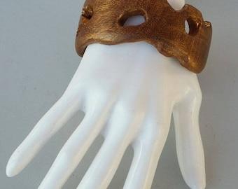Wooden Golden Bangle/Bracelet with Golden Patina