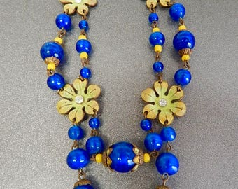 Czech, Neiger, Blue Glass, and Green Enamel Necklace