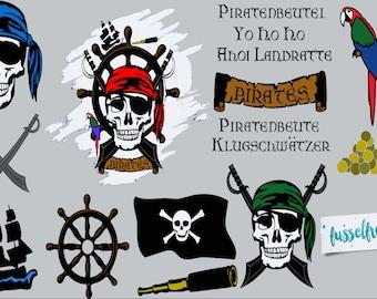 Plotterdatei Serie Pirate Style Fusselfreies Pirat Piraten Steuerrad Säbel Flagge Banner Schiff