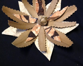 Authentic Tapa Cloth & Lauhala Hair Clip. Perfect Flower To Add To Your Costume, Wedding, Luau, Gift, Beach, To Wear With Your Island Style.
