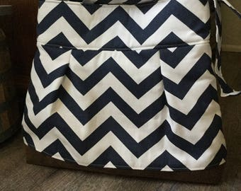 Pleated Shoulder Bag, Purse, Handbag, in a Navy Blue and White Chevron with Brown Faux Suede Bottom - Ready to Ship