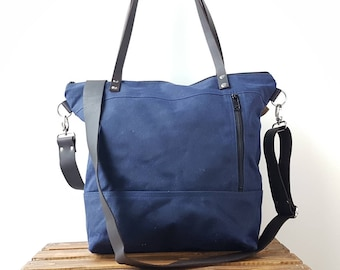 Waxed Canvas Tote Bag, Navy Blue
