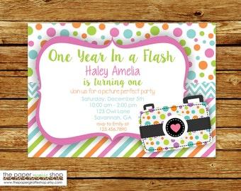 Camera Invitation | Camera Birthday Invitation | Oh Snap! | First Birthday | First Birthday Party | One Year In a Flash Invitation