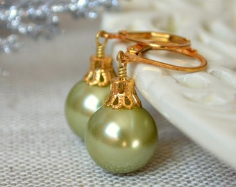 Olive Green Glass Pearl Earrings, Christmas Balls, Gold Plated Lever Earwires, Fun Holiday Jewelry
