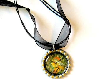SALE - Faux Art Nouveau Clock Choker Necklace,  Faux Clock Choker Necklace, Organza Ribbon Bottle Cap Pendant, Art Nouveau Style Pendant