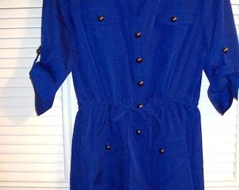 Dress 8, Royal Blue Silkey Short Shirt-Dress,  SHARP ! by ECI of NY Size 8