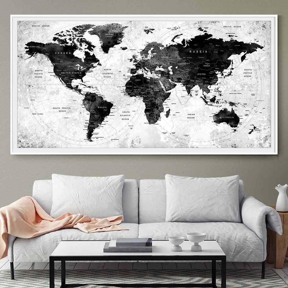 LARGE Watercolor Map World Push Pin Travel Cities Wall Black &